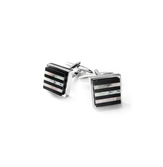CUFFLINKS  MOTHER OF PEARL/BLACK