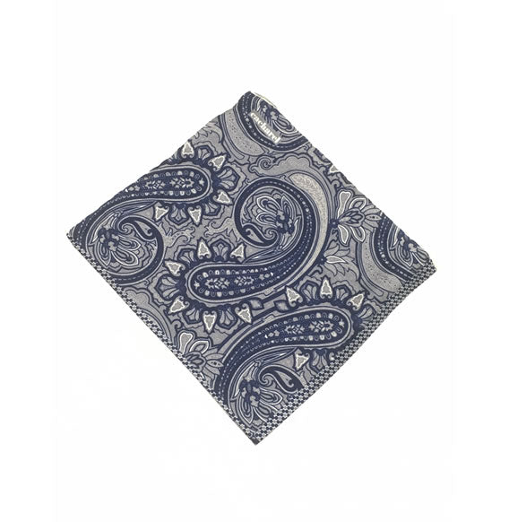 CACHAREL PAISLEY POCKET SQUARE (BLUE/GREY) Made in Italy
