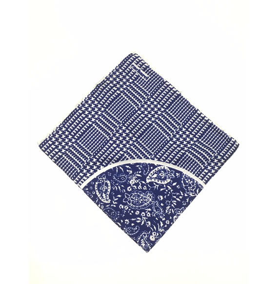 POCKET SQUARE CACHAREL SILK (BLUE/WHITE) Made In Italy