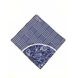CACHAREL SILK POCKET SQUARE (BLUE/WHITE) Made In Italy