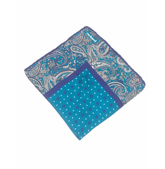 CACHAREL SILK POCKET SQUARE (TURQUOISE/PURPLE) Made in Italy