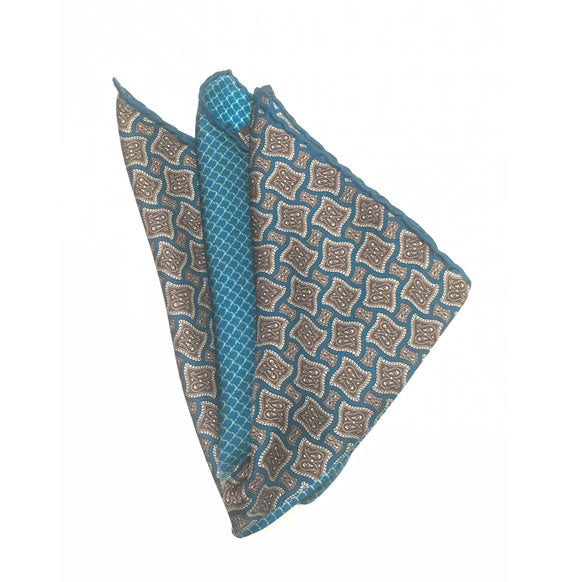 SILK POCKET SQUARE (TURQUOISE/GOLD TONES)