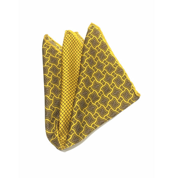 SILK POCKET SQUARE (YELLOW/OLIVE/GREY)