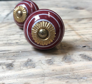 Burgundy Red & White Stripe Drawer Pull