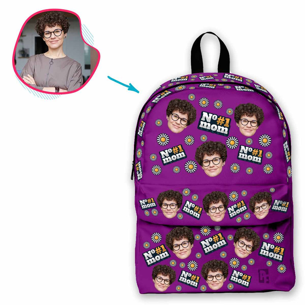 purple #1 Mom classic backpack personalized with photo of face printed on it