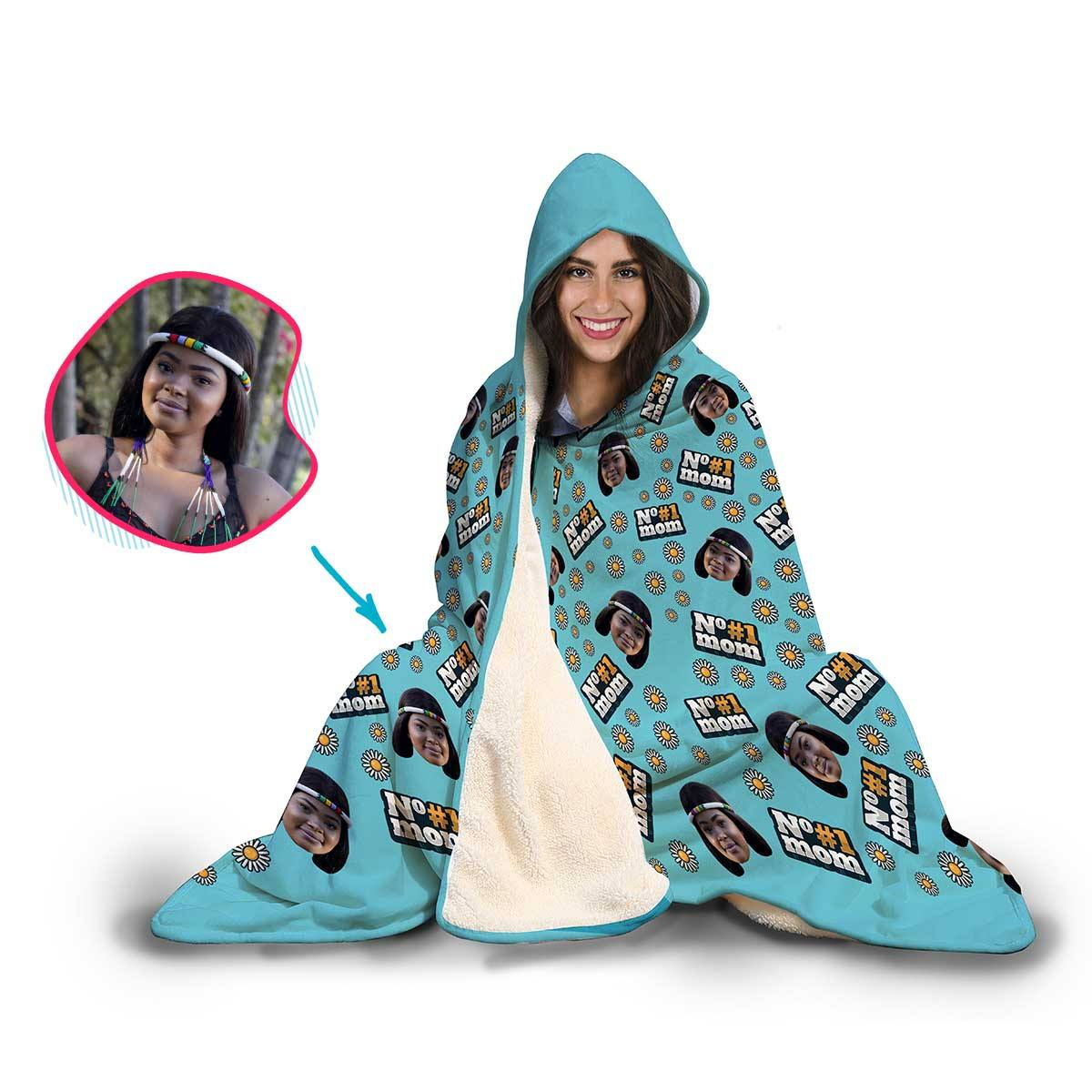 #1 Mom Personalized Hooded Blanket