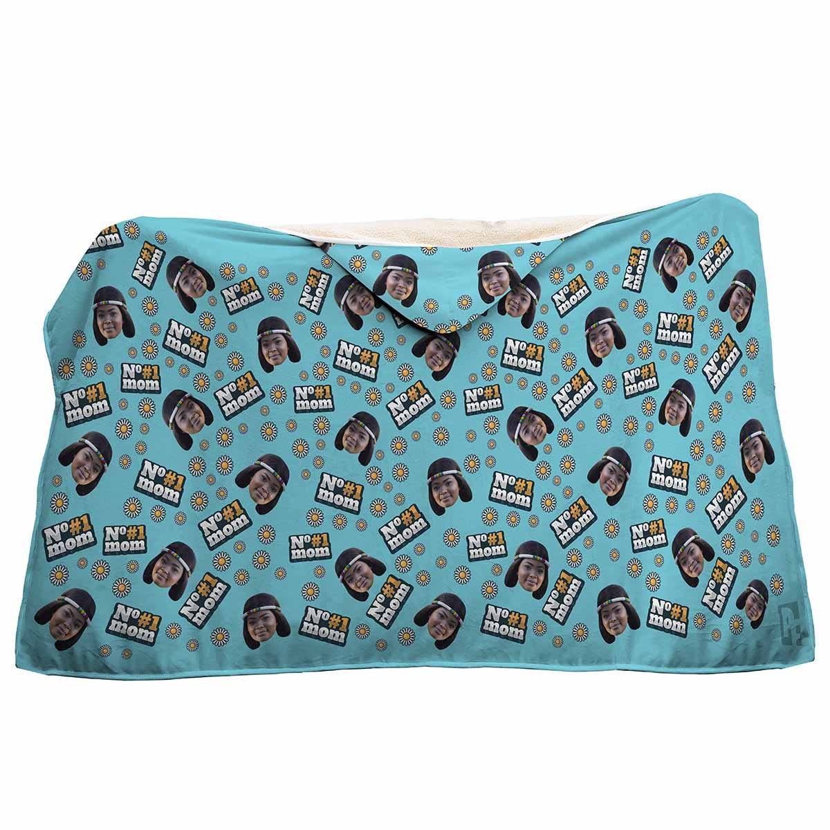 blue #1 Mom hooded blanket personalized with photo of face printed on it