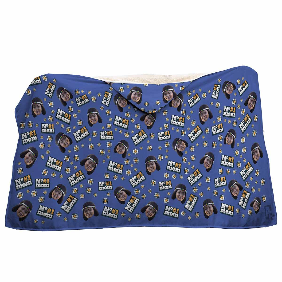 darkblue #1 Mom hooded blanket personalized with photo of face printed on it