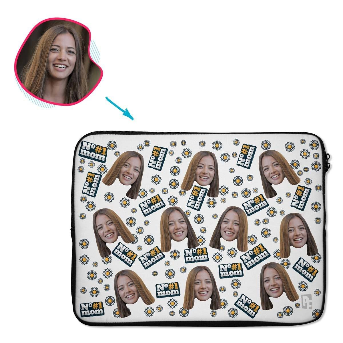 white #1 Mom laptop sleeve personalized with photo of face printed on them