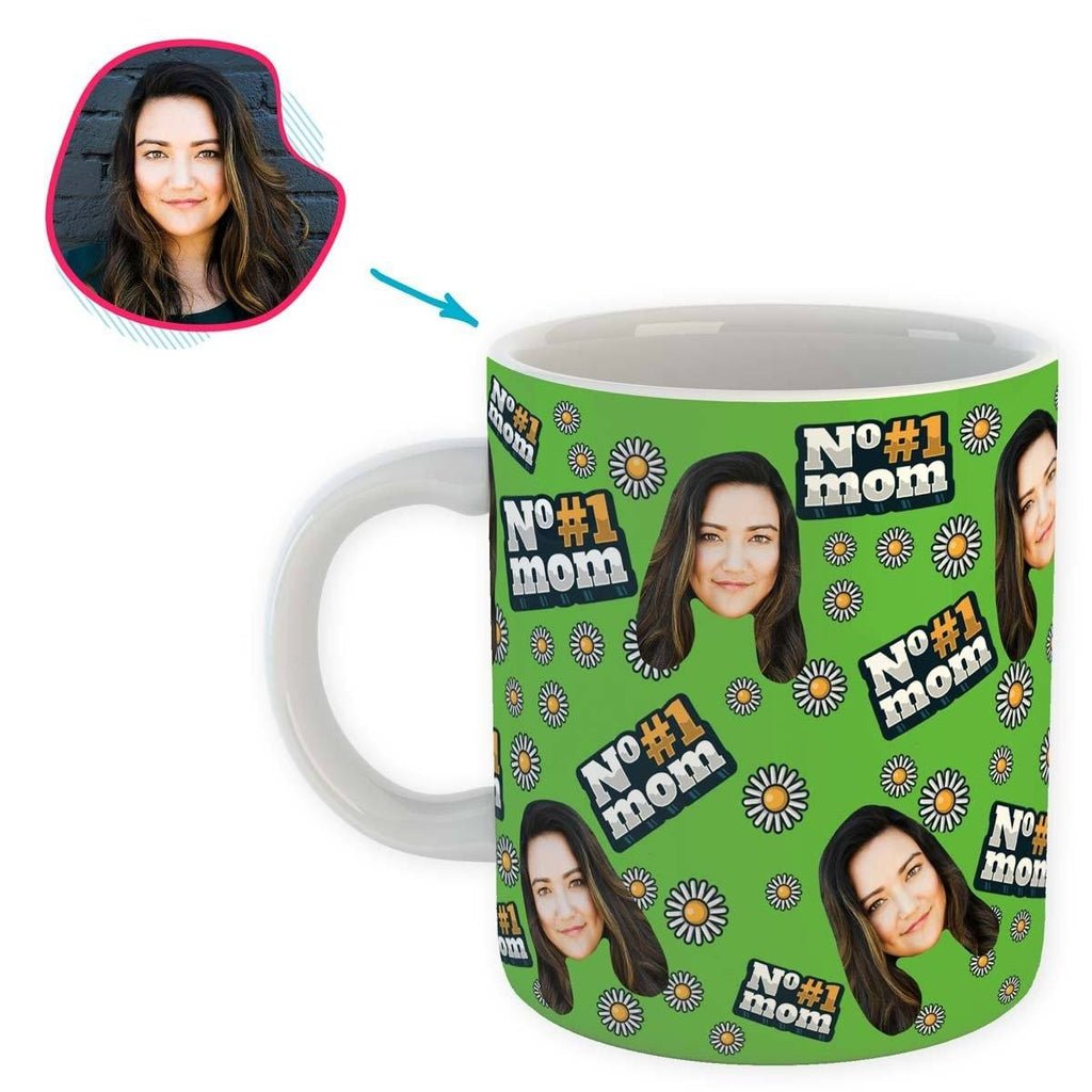 green #1 Mom mug personalized with photo of face printed on it