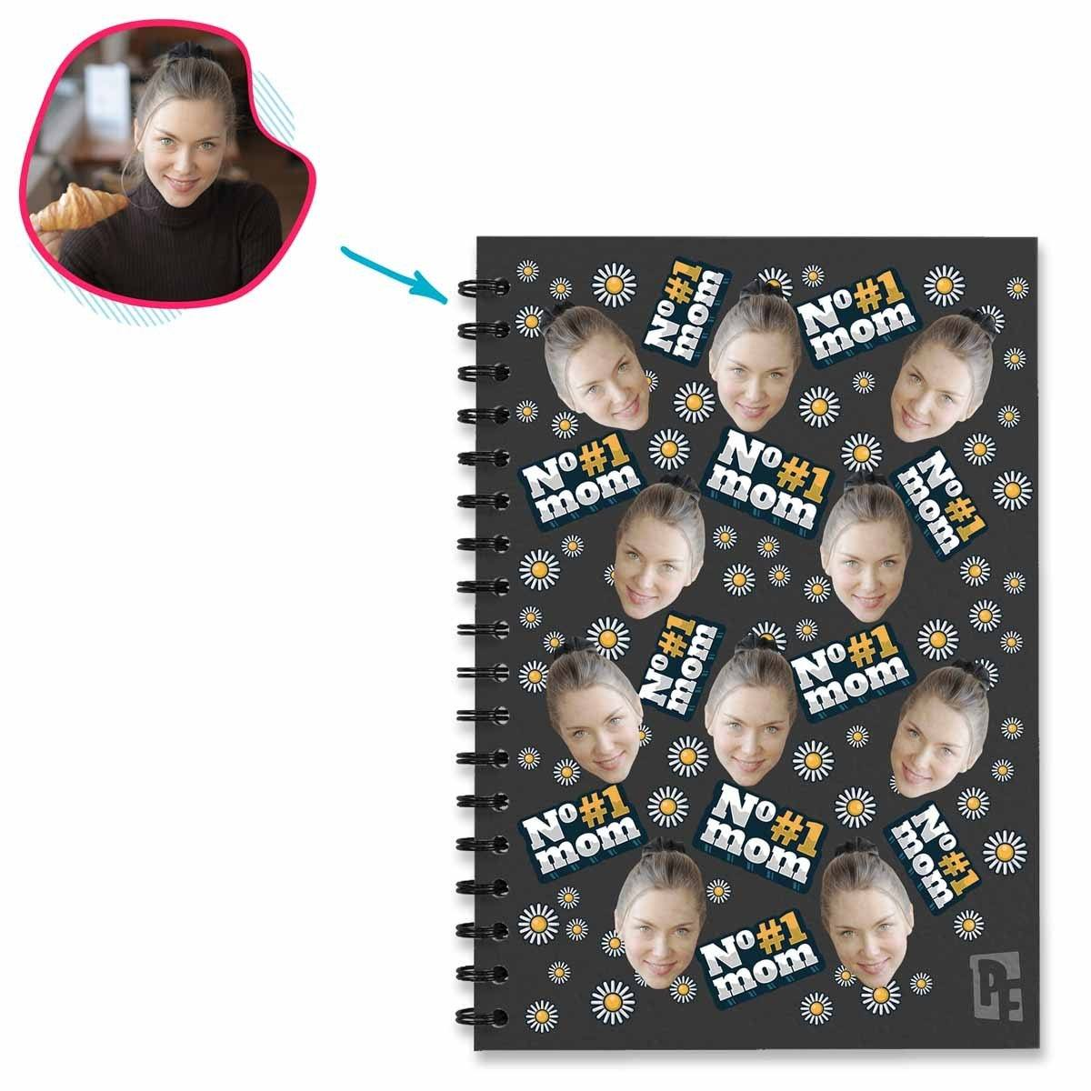 dark #1 Mom Notebook personalized with photo of face printed on them