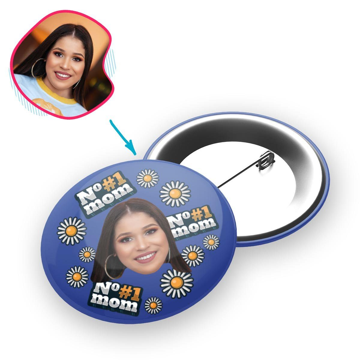 darkblue #1 Mom pin personalized with photo of face printed on it