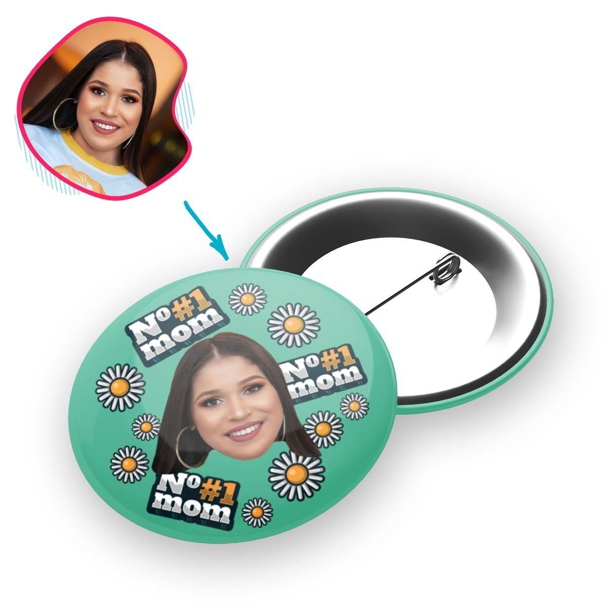 mint #1 Mom pin personalized with photo of face printed on it