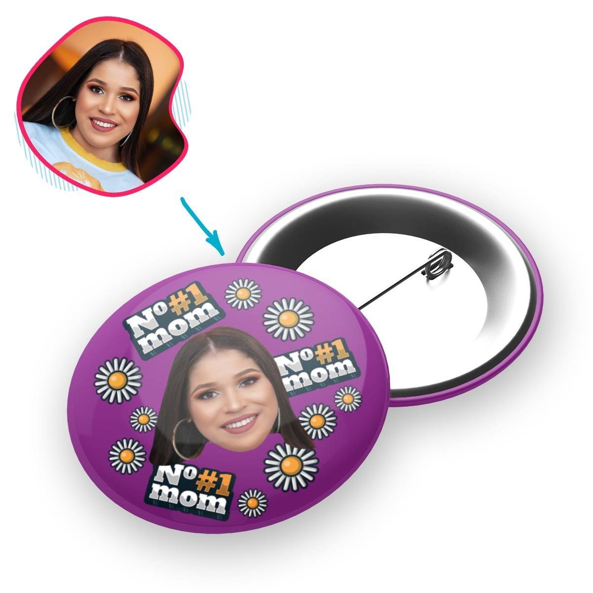 #1 Mom Personalized Pin Button