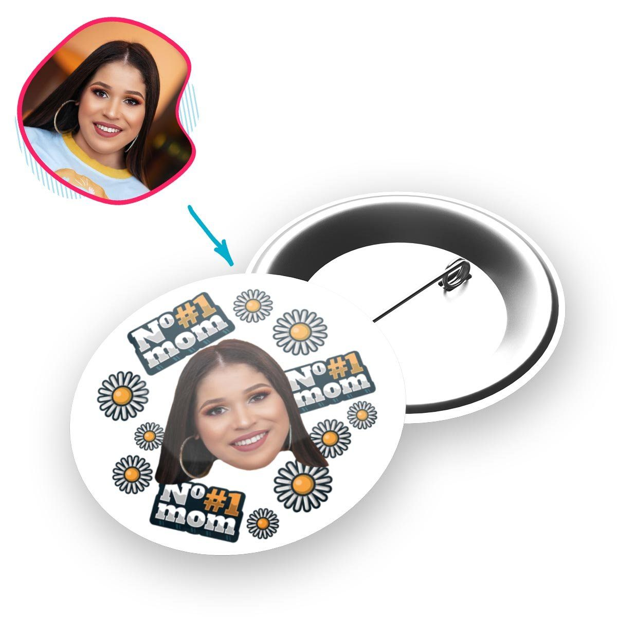 white #1 Mom pin personalized with photo of face printed on it