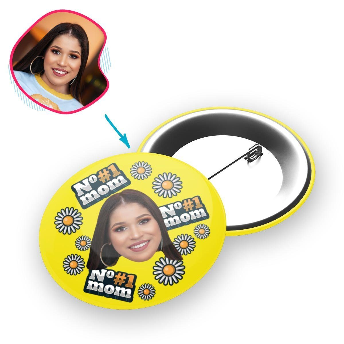 yellow #1 Mom pin personalized with photo of face printed on it