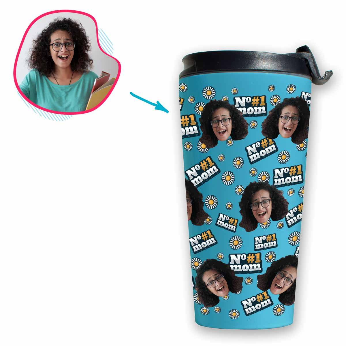 blue #1 Mom travel mug personalized with photo of face printed on it