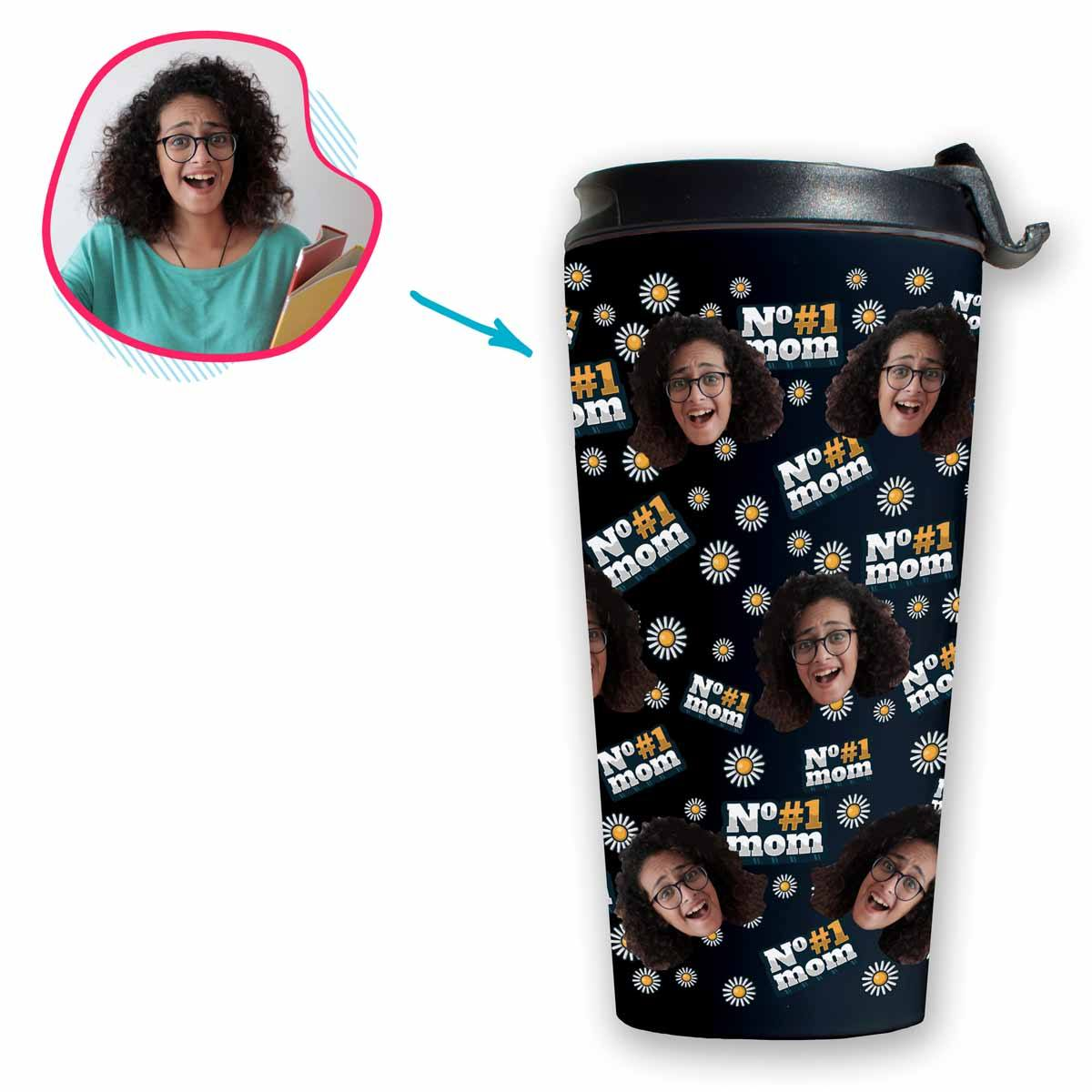 dark #1 Mom travel mug personalized with photo of face printed on it