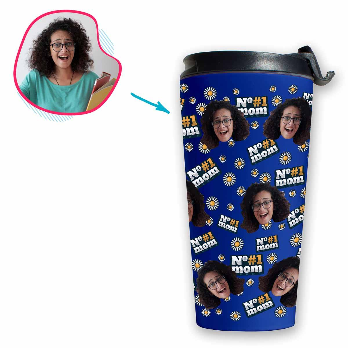 darkblue #1 Mom travel mug personalized with photo of face printed on it