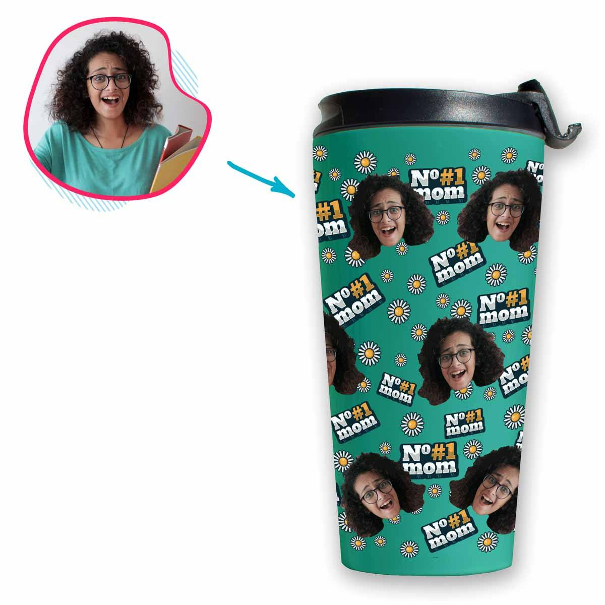 mint #1 Mom travel mug personalized with photo of face printed on it