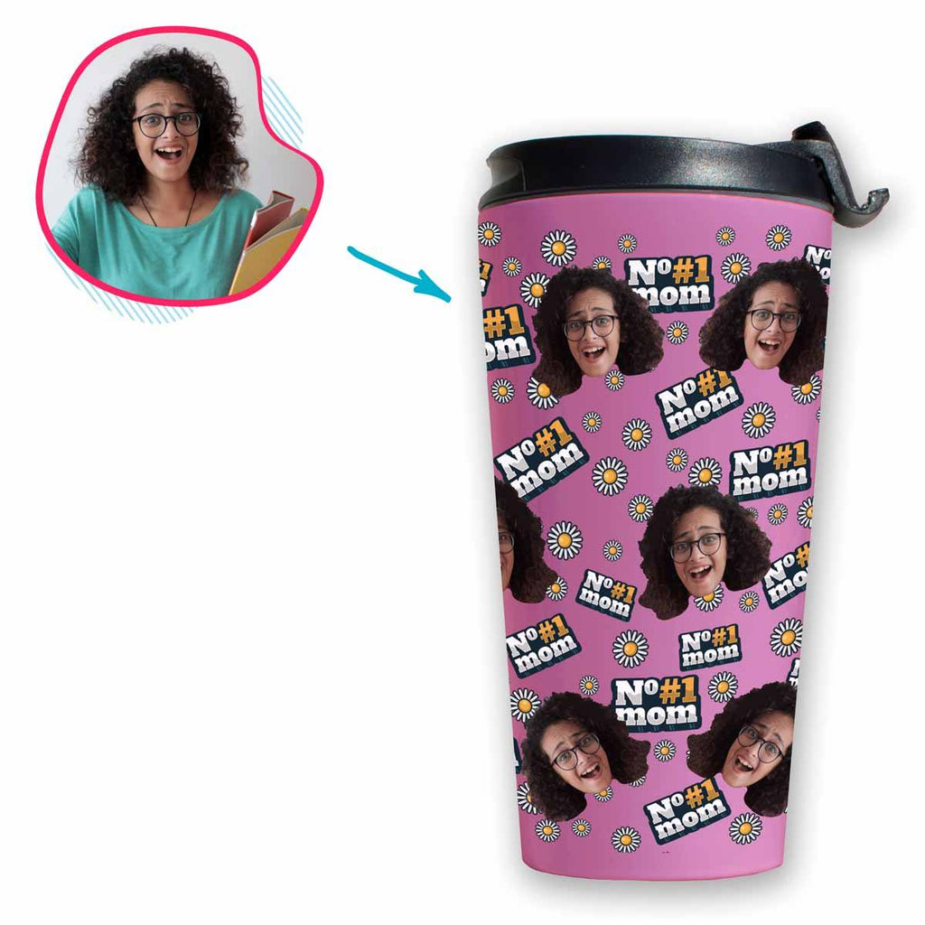 pink #1 Mom travel mug personalized with photo of face printed on it