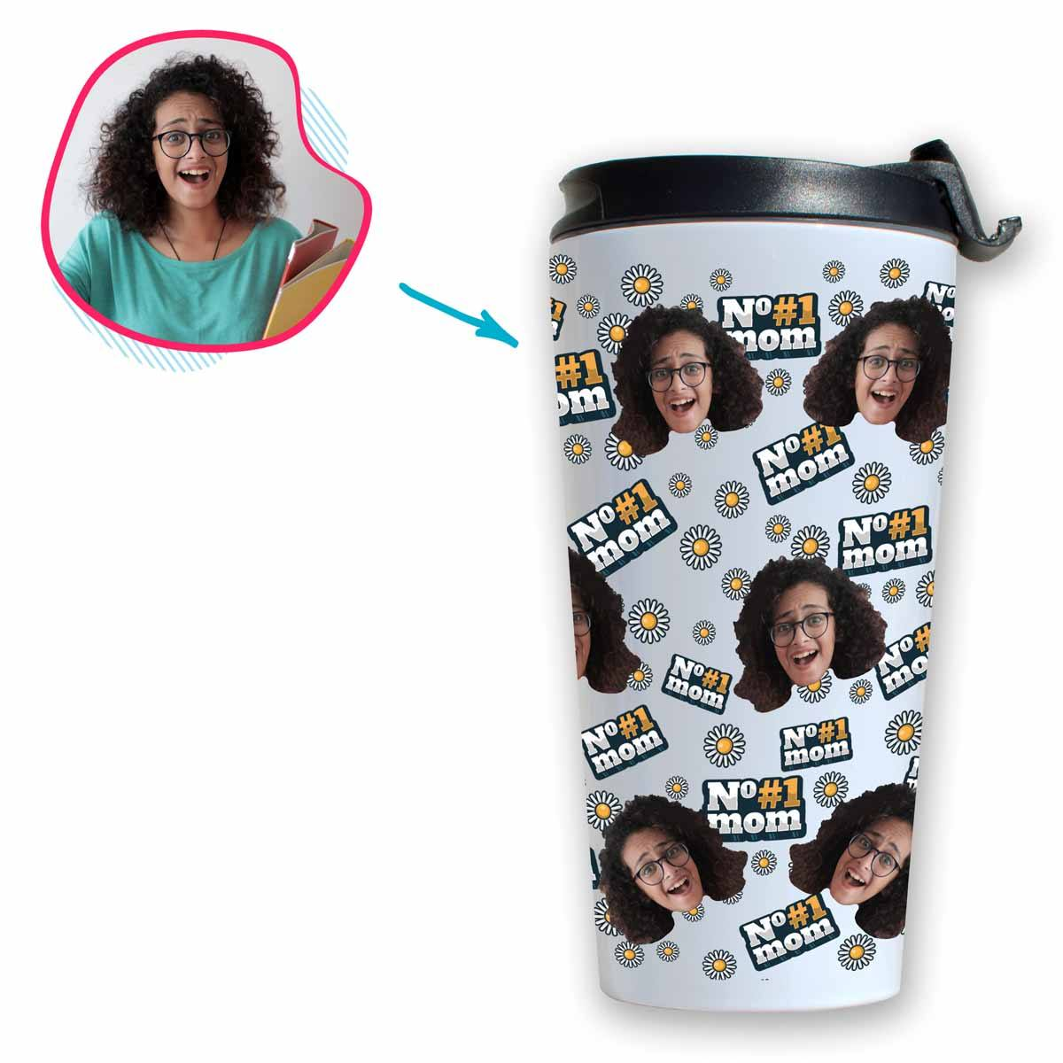 white #1 Mom travel mug personalized with photo of face printed on it