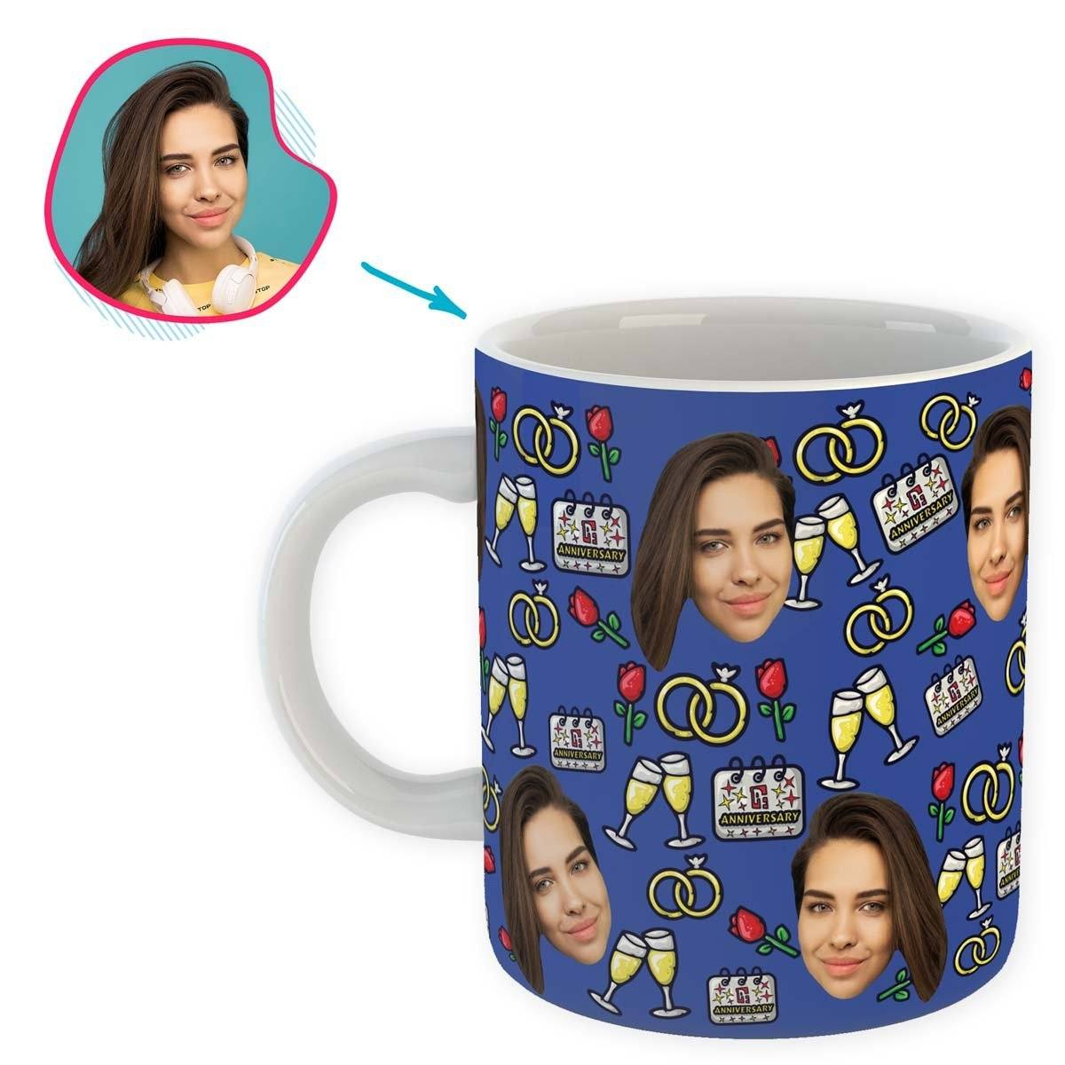 Darkblue Anniversary personalized mug with photo of face printed on it