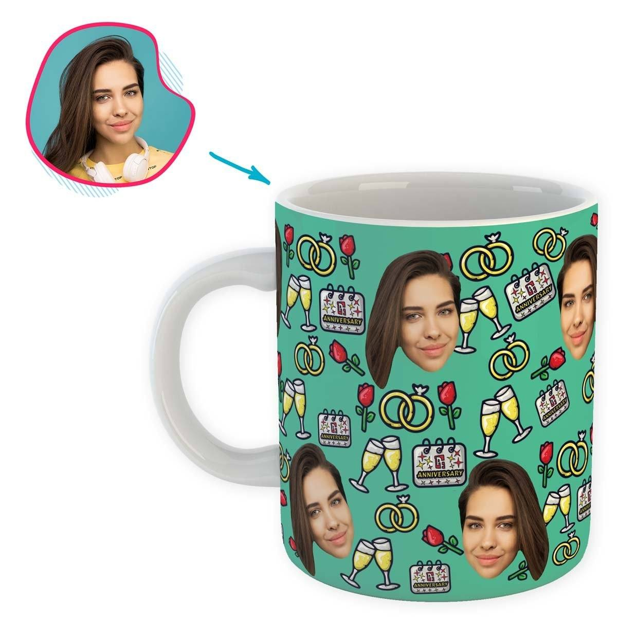 Mint Anniversary personalized mug with photo of face printed on it