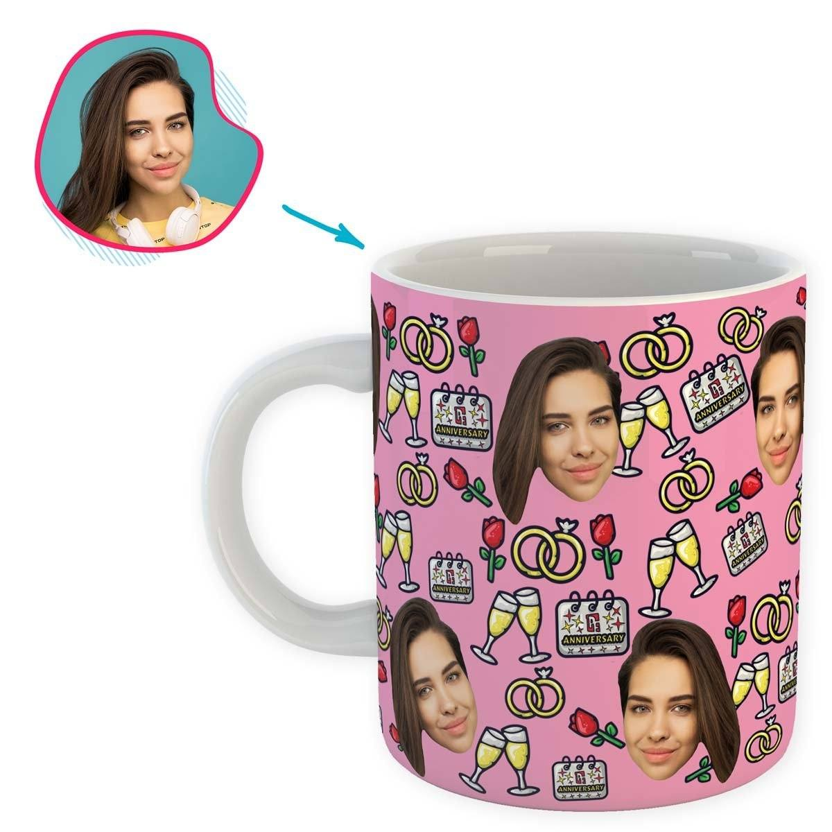Pink Anniversary personalized mug with photo of face printed on it