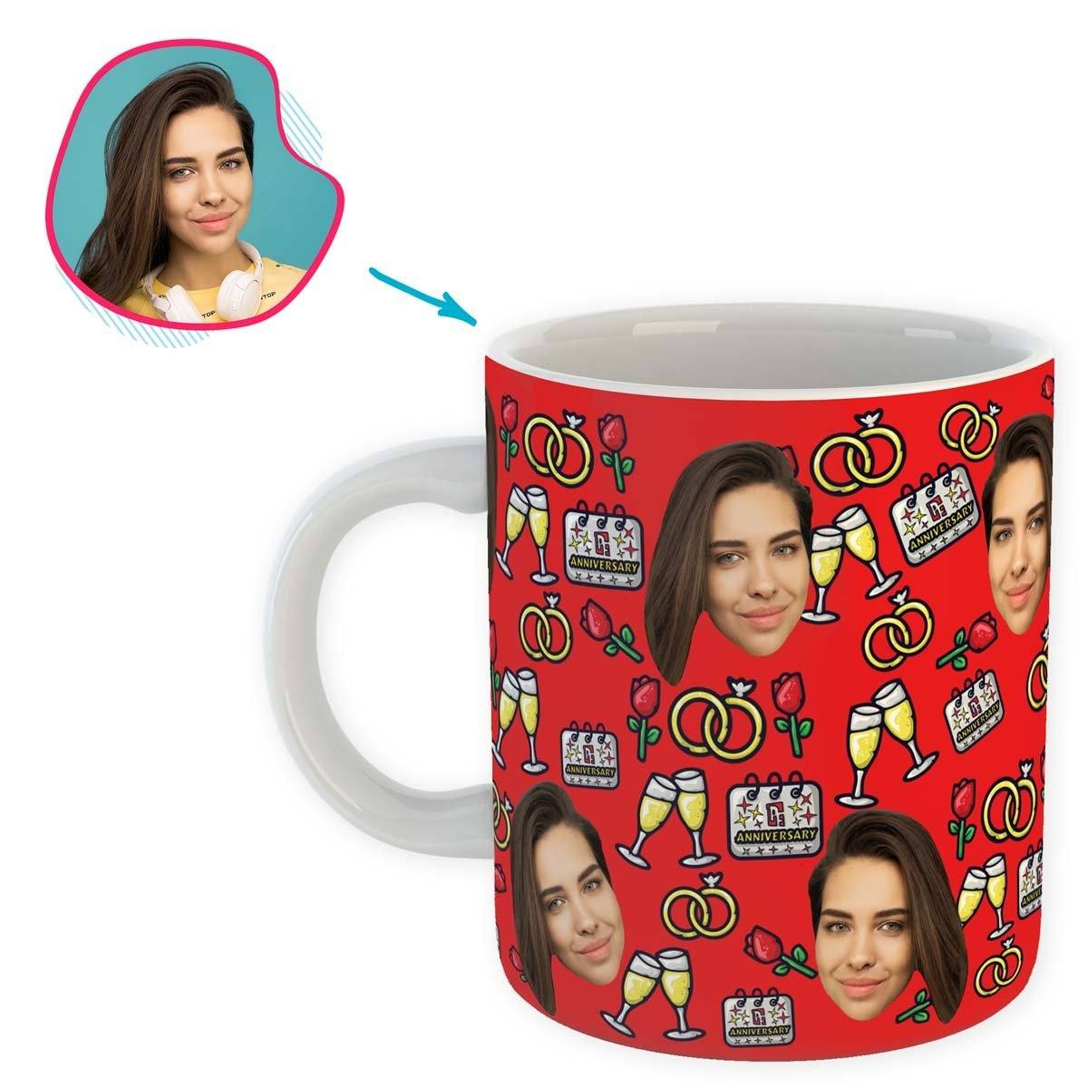 Red Anniversary personalized mug with photo of face printed on it