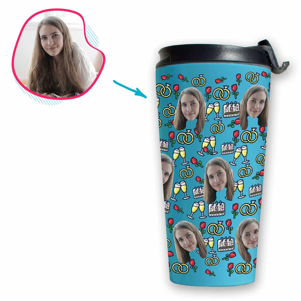 Blue Anniversary personalized travel mug with photo of face printed on it