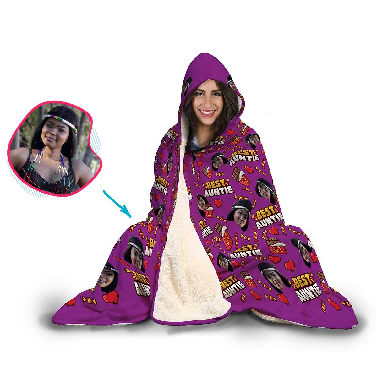 Auntie Personalized Hooded Blanket
