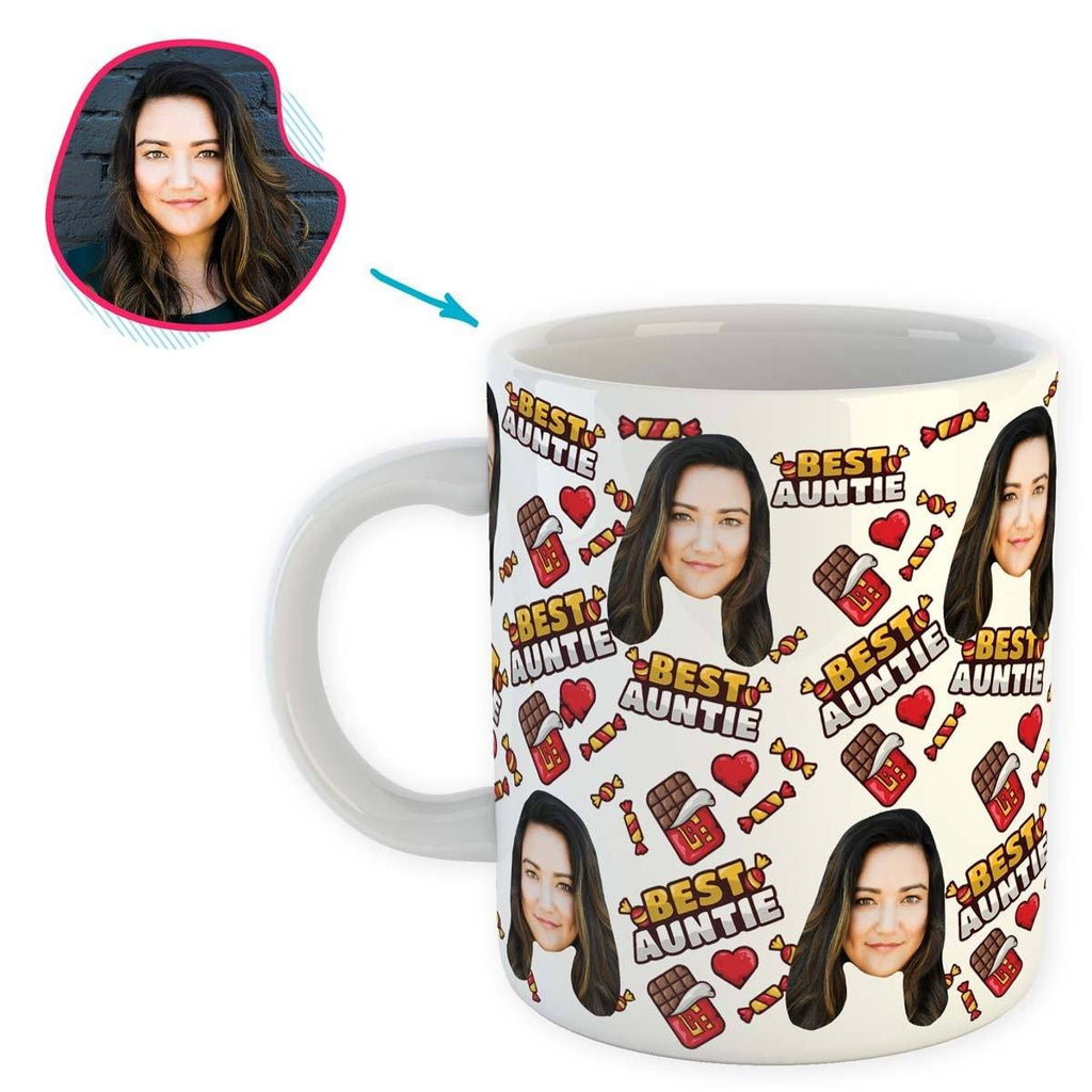 White Auntie personalized mug with photo of face printed on it