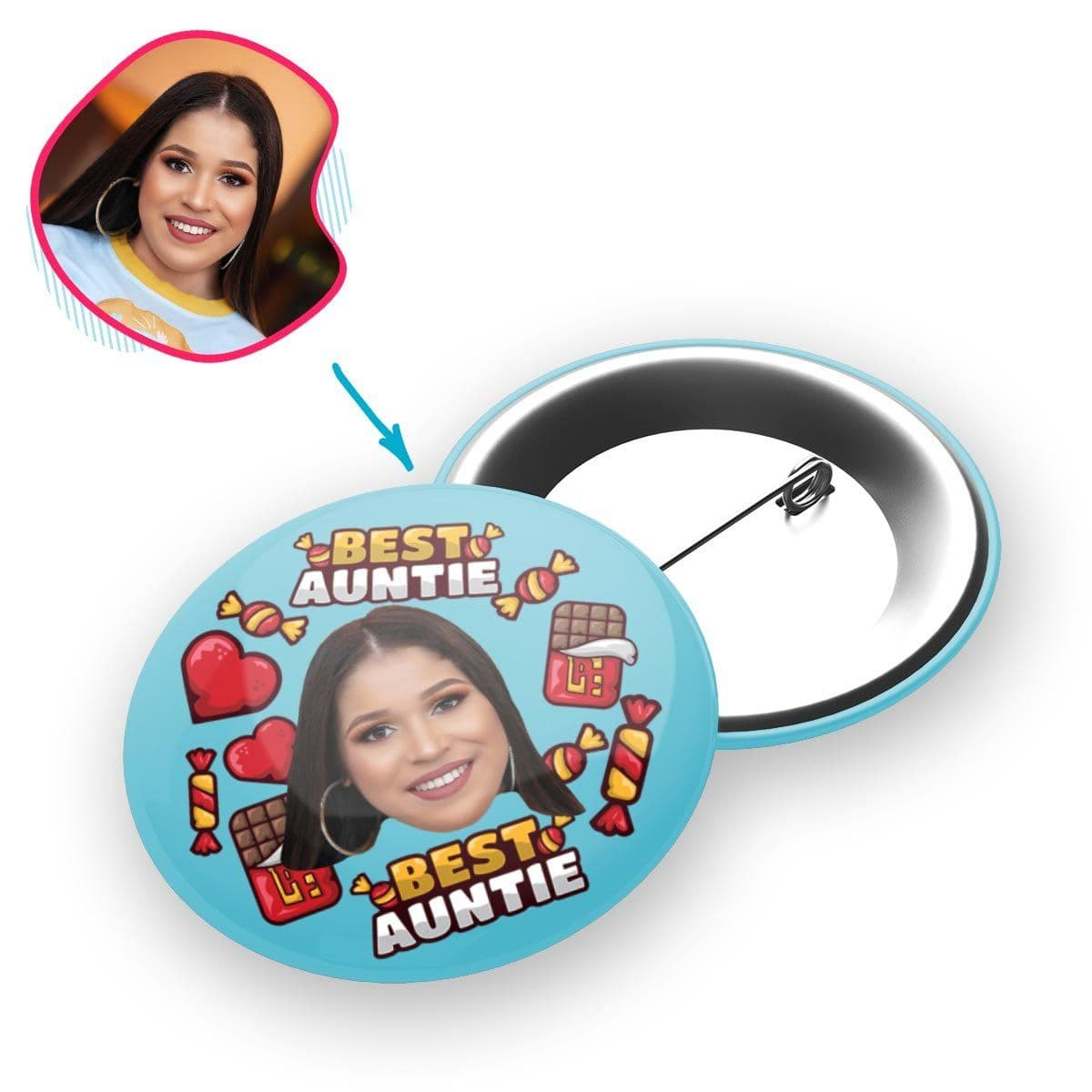 Blue Auntie personalized pin with photo of face printed on it