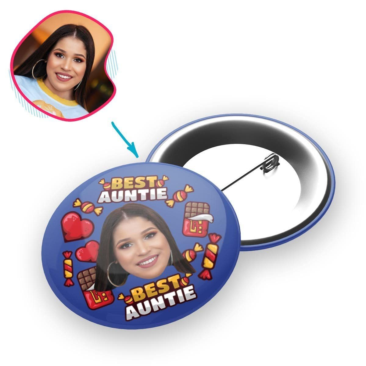 Darkblue Auntie personalized pin with photo of face printed on it