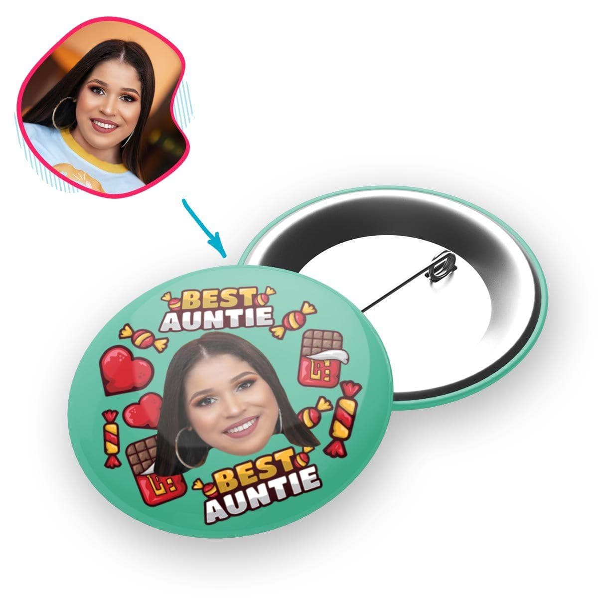 Mint Auntie personalized pin with photo of face printed on it
