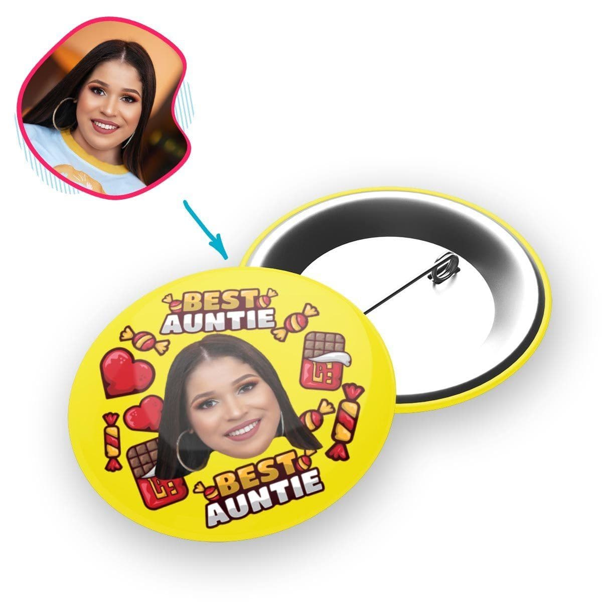 Yellow Auntie personalized pin with photo of face printed on it