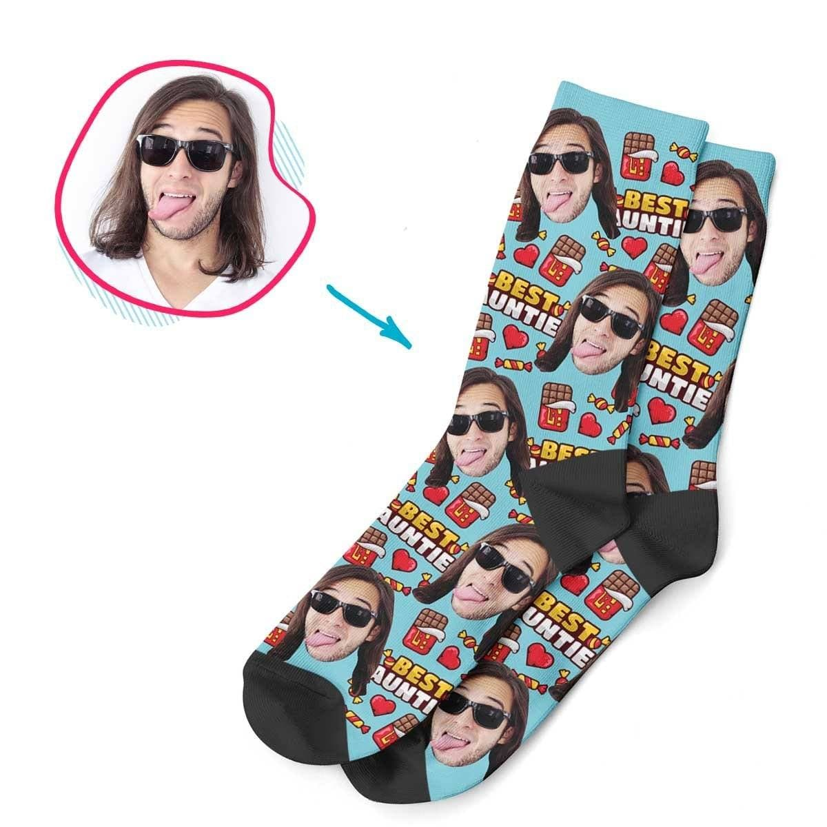 Blue Auntie personalized socks with photo of face printed on them