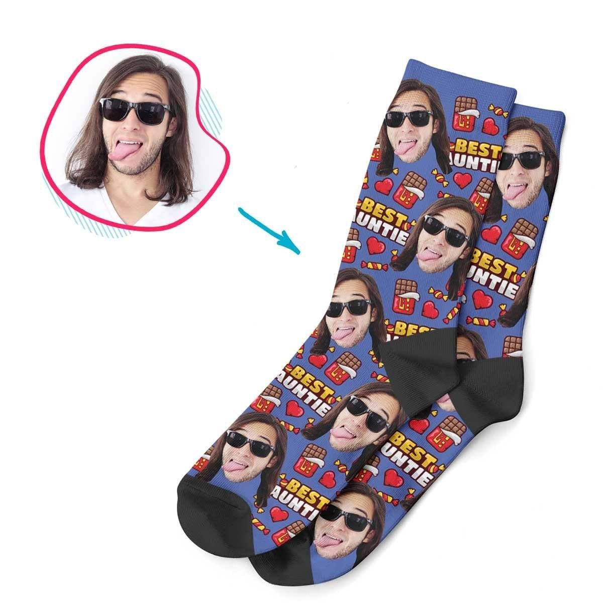 Darkblue Auntie personalized socks with photo of face printed on them