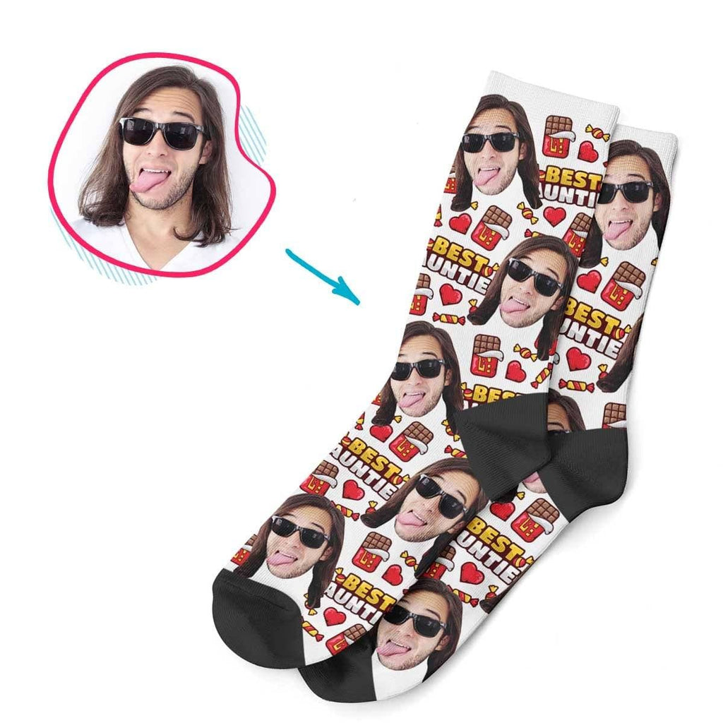 White Auntie personalized socks with photo of face printed on them