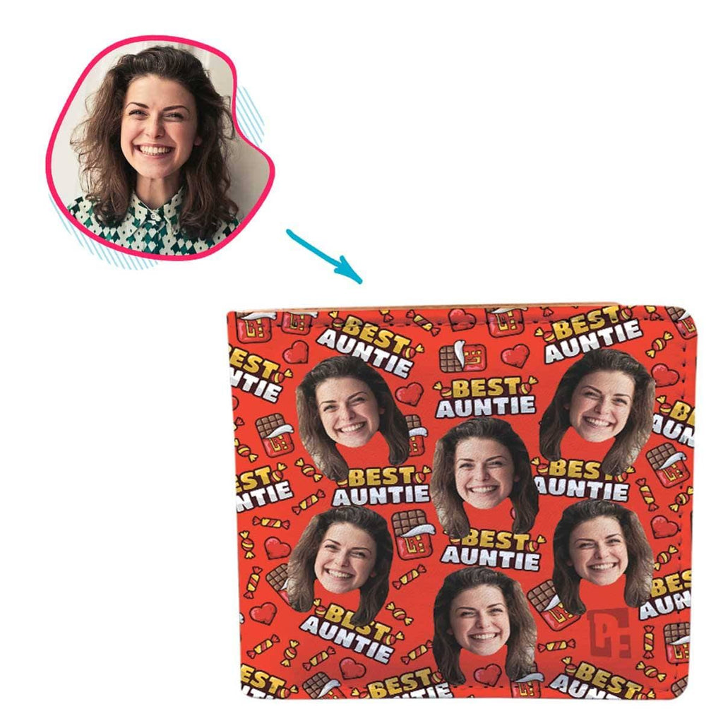 Red Auntie personalized wallet with photo of face printed on it