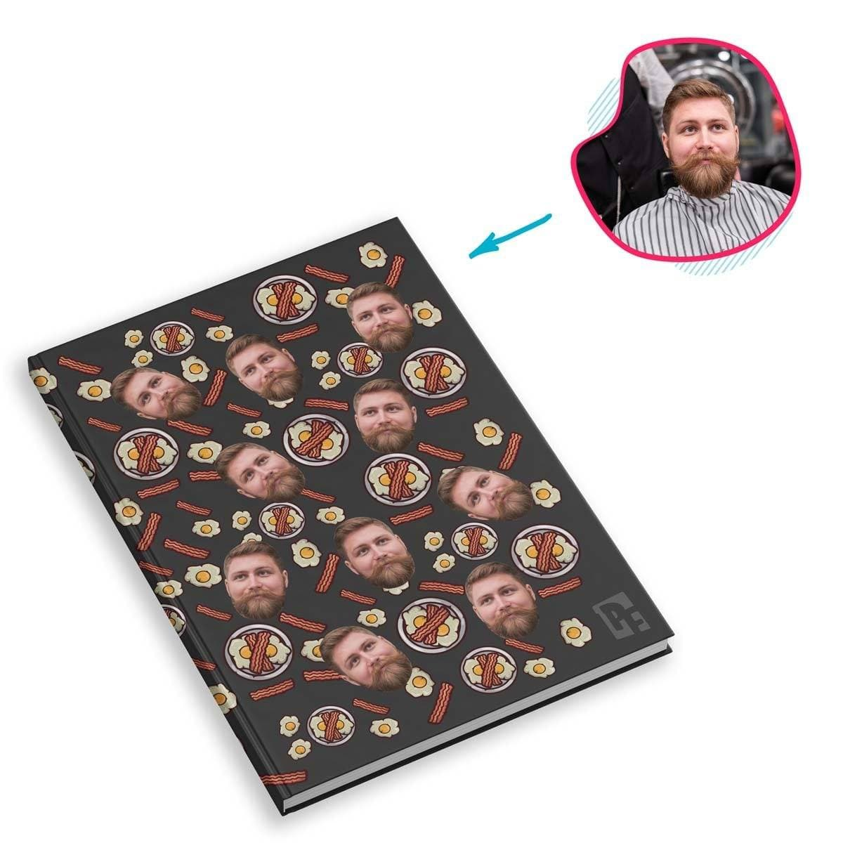 dark Bacon and Eggs Notebook personalized with photo of face printed on them