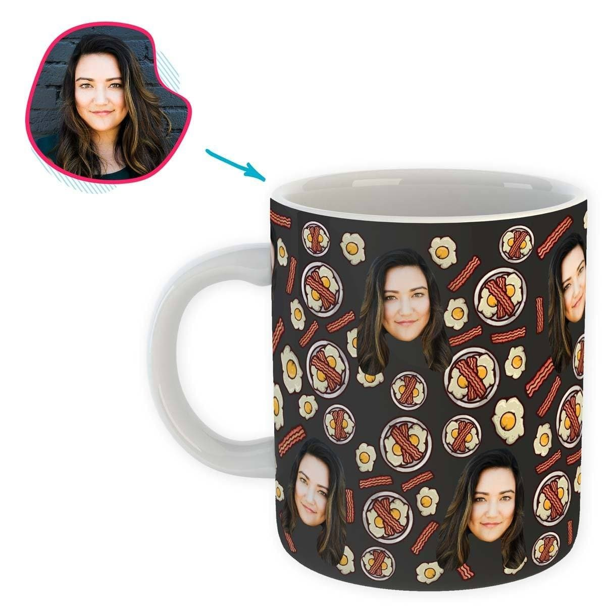 dark Bacon and Eggs mug personalized with photo of face printed on it