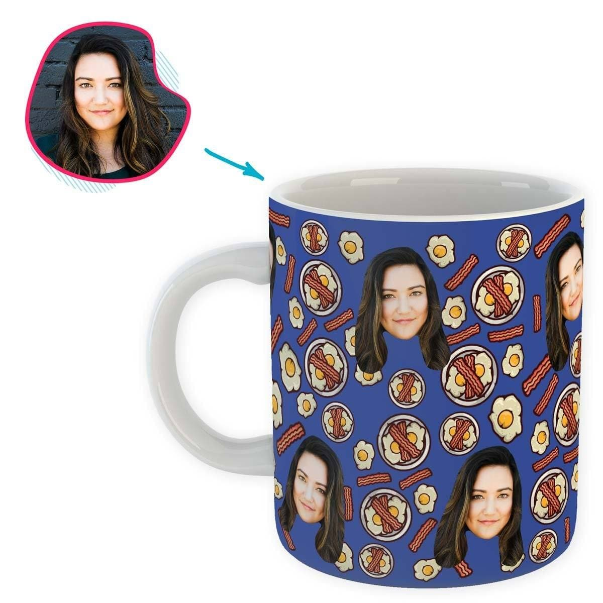 darkblue Bacon and Eggs mug personalized with photo of face printed on it