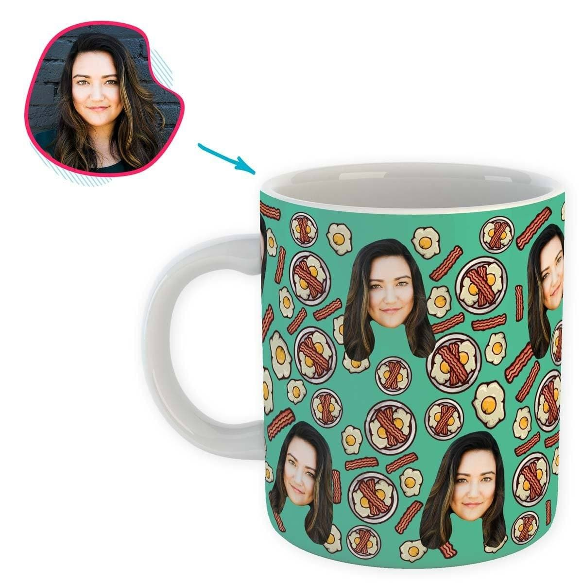 mint Bacon and Eggs mug personalized with photo of face printed on it