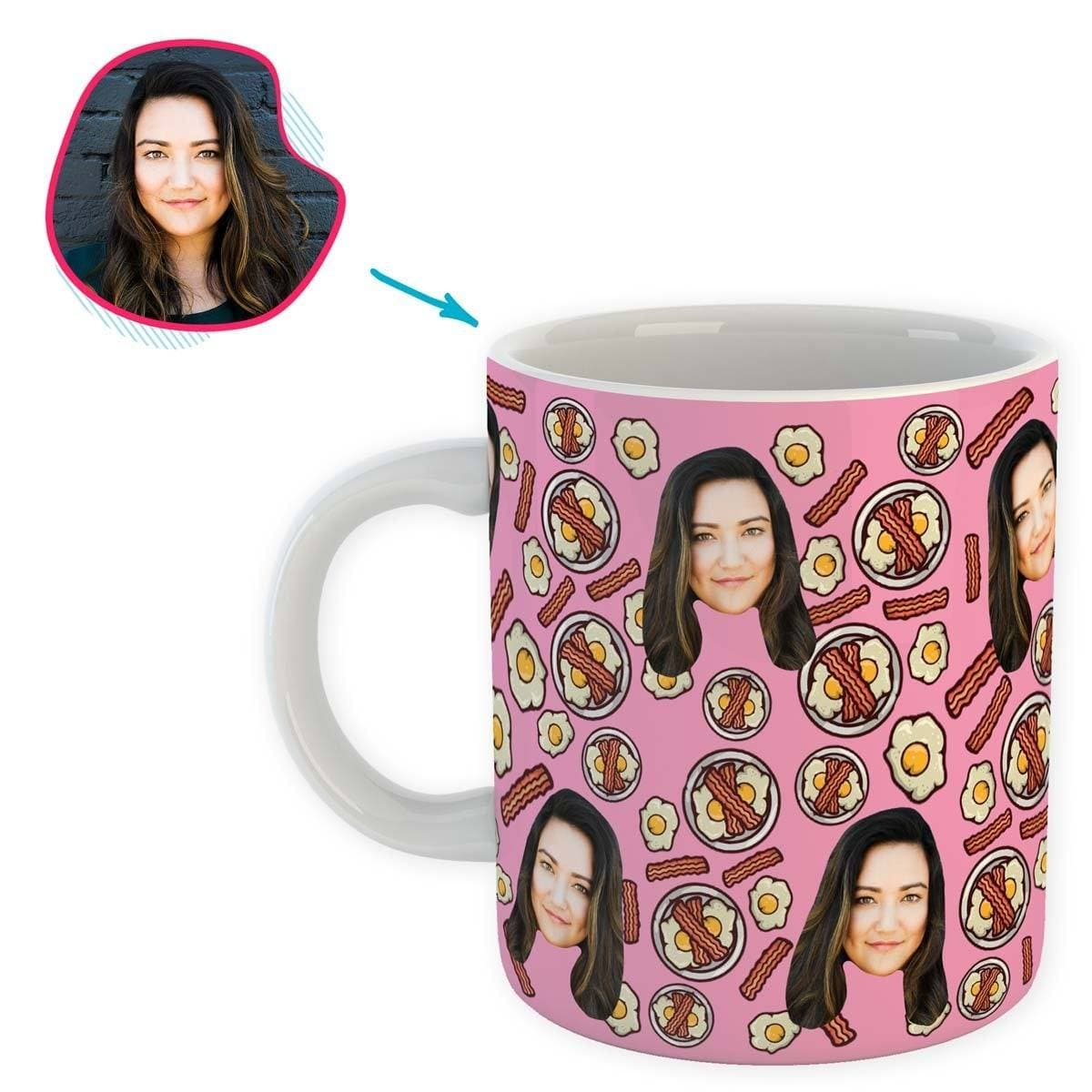 pink Bacon and Eggs mug personalized with photo of face printed on it