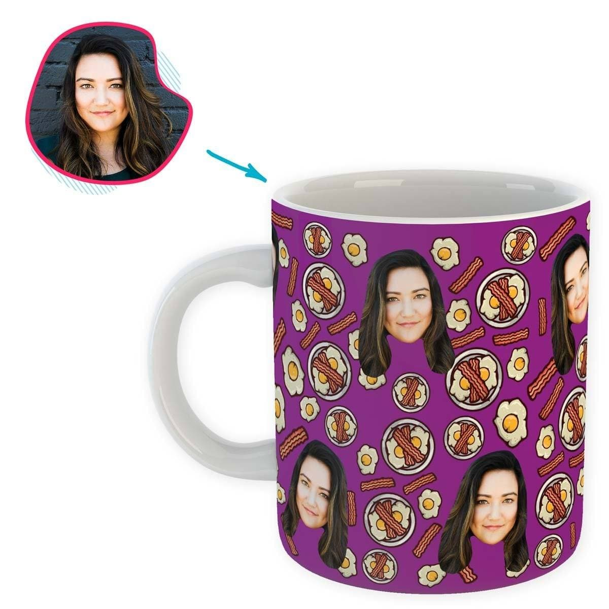purple Bacon and Eggs mug personalized with photo of face printed on it