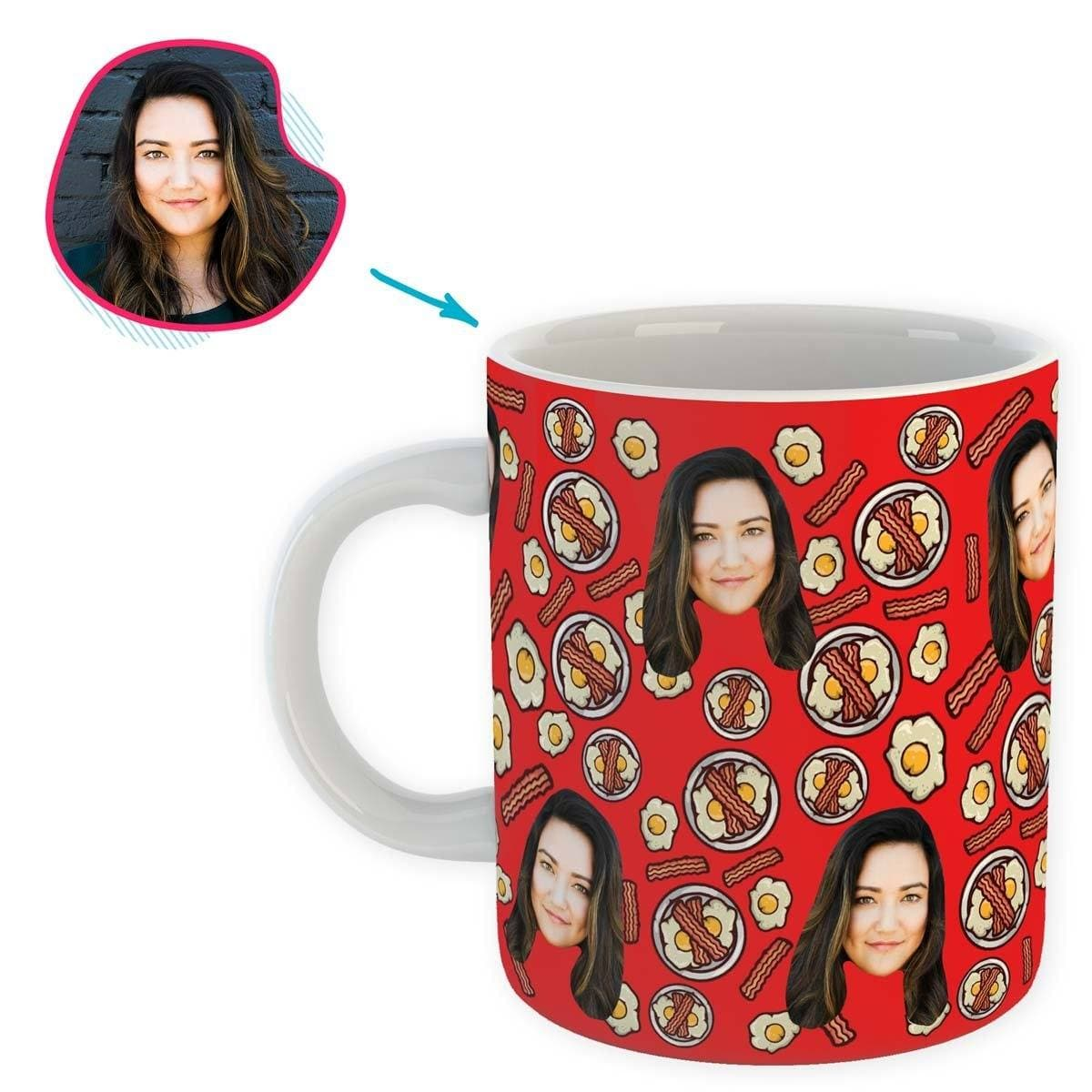 red Bacon and Eggs mug personalized with photo of face printed on it