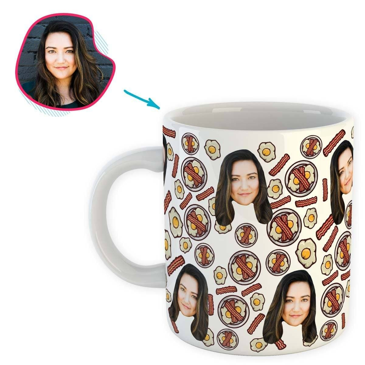 white Bacon and Eggs mug personalized with photo of face printed on it