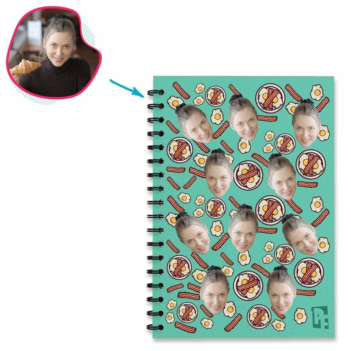 mint Bacon and Eggs Notebook personalized with photo of face printed on them